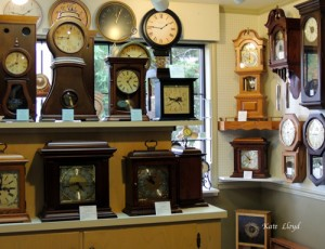 Interior of Kauffman's Handcrafted Clocks, Lancaster County, PA.