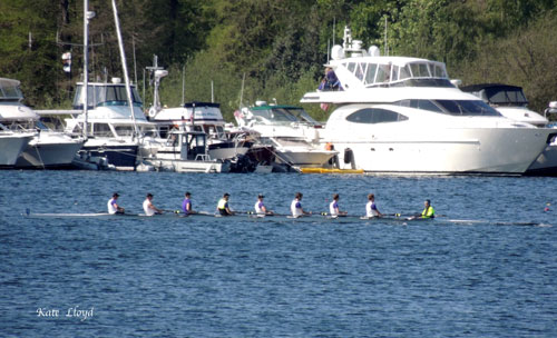 Rowers warming up before the races on Lake Washington.