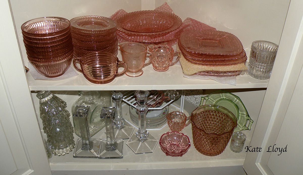 My stash of pink Depression Glass.