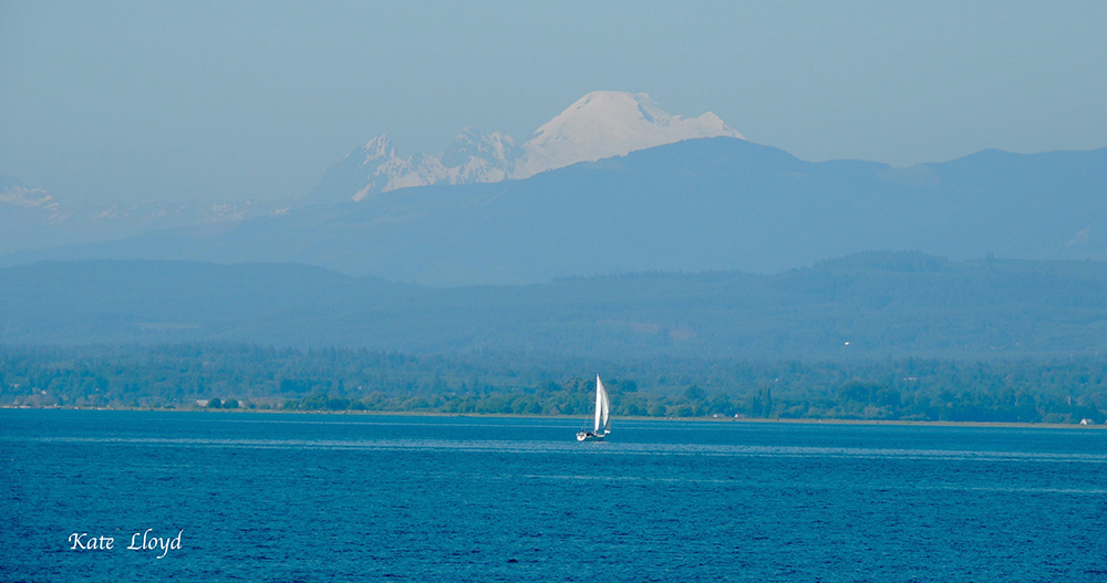 On a sunny day the view from our deck is Mount Baker.