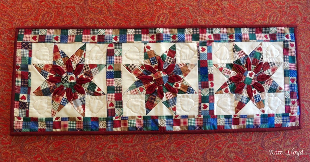 Amish-made hand-quilted Star Pattern Table Runner from Lancaster County, PA.
