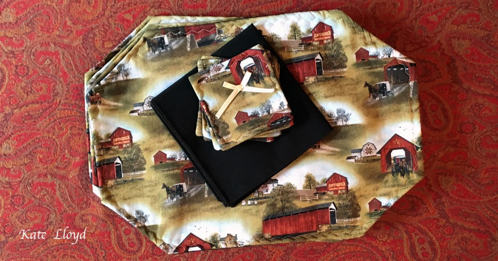 Four Amish-made placemats, napkins, and coasters, from Lancaster County, PA.