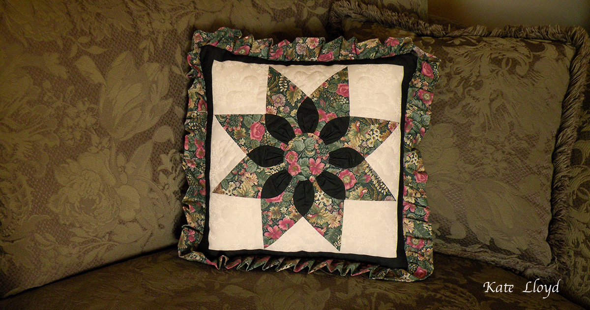 "Amish-made 17 "" square quilted pillow from Lancaster County, PA"