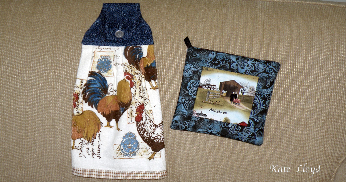 Amish-made Tea Towel and Potholder, from Lancaster County, PA.