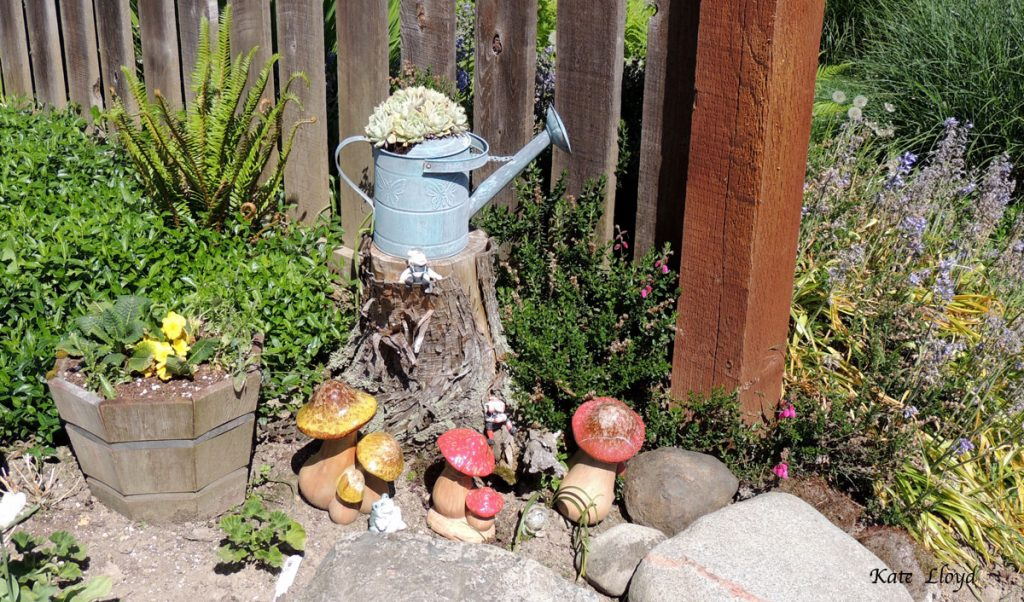 This woman enjoyed showing me her garden artistry.