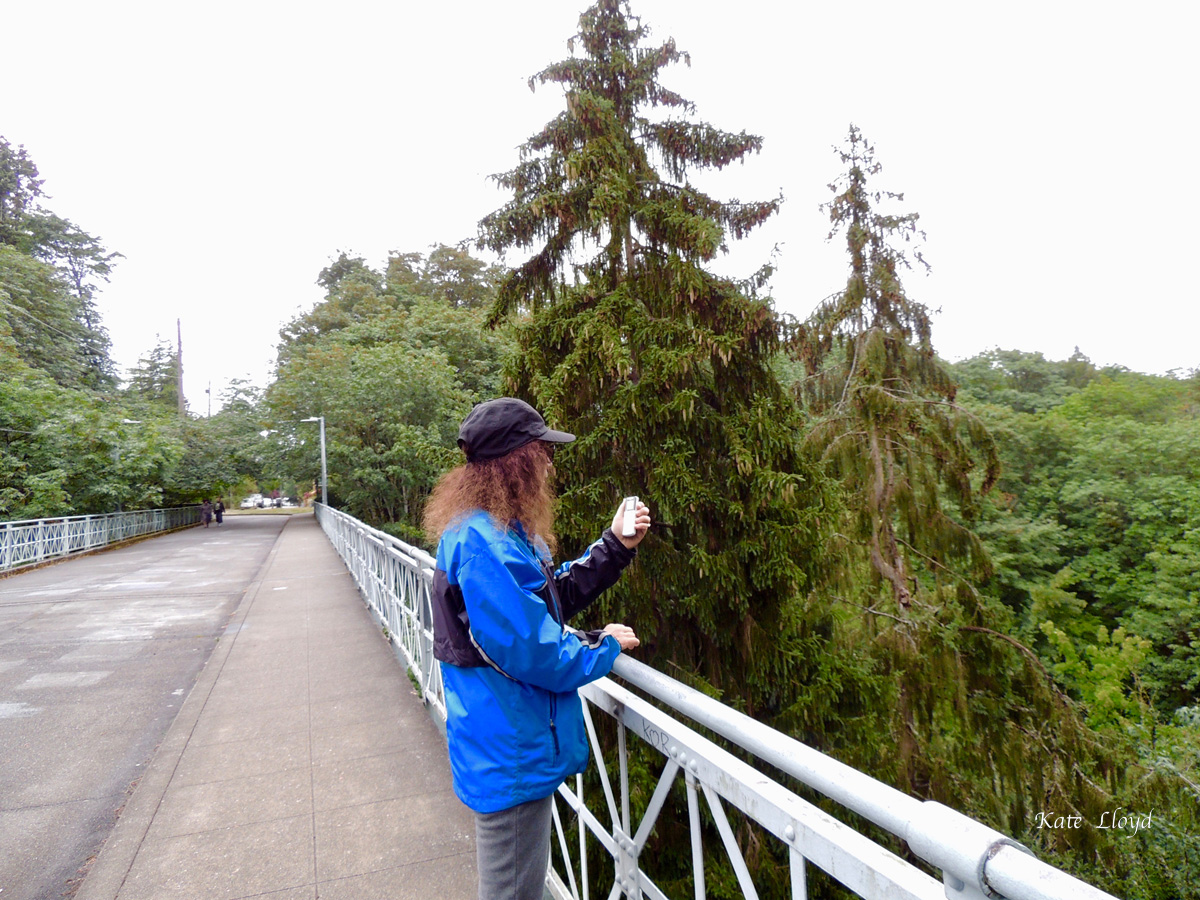 Using my recorder to capture my elusive thoughts at Ravenna Park in Seattle..