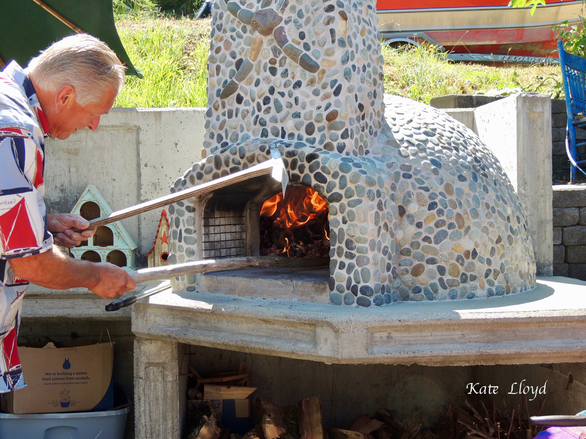 Heating up the pizza oven
