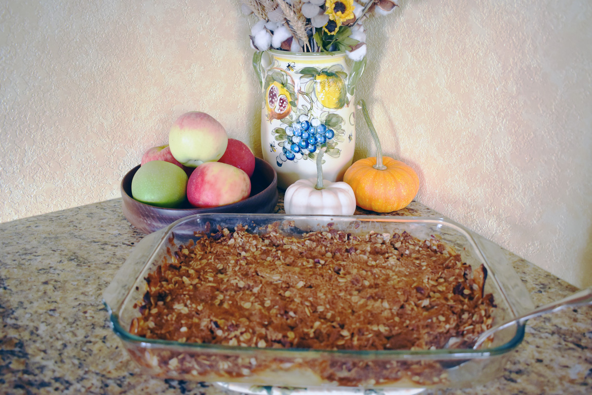 Apple crisp baked by author Kathleen Kohler